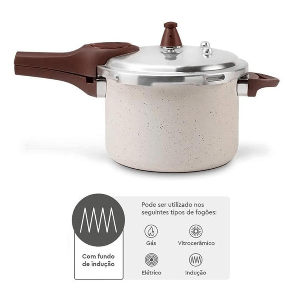 Panela De Pressão Pressure Vanilla Cerâmica Indução 4,2 Litros - Brinox